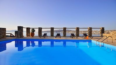 Photo for MYKONOS GEM LUXURY VILLA RINIA, 5 BEDROOMS 4 BATHROOMS, PRIVATE POOL, UP TO 10 GUESTS, ORNOS BEACH, ONE OF THE FAMOUS IN MYKONOS IS 5 MINUTES AWAY !