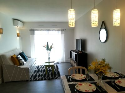 Photo for Golfe-Juan les Pins: 2 rooms, air conditioning, wifi, pool, parking, beaches, shops