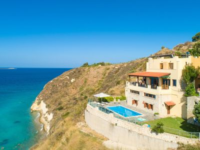 Photo for Souda Bay View: Large Private Pool, Walk to Beach, Sea Views, A/C, WiFi