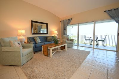 Spacious and clean Living area with waterfront views. Large TV.