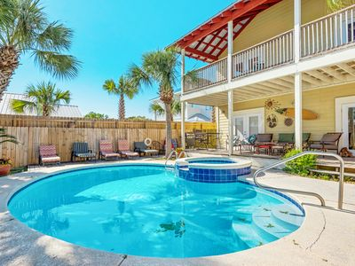 Photo for 5BR Gulf Getaway w/ Heated Pool, Spa, Deck & Game Room - 2 Blocks to  Beach