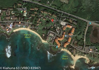 Overhead picture showing the location of Kiahuna 63 -- 4 min walk to the beach
