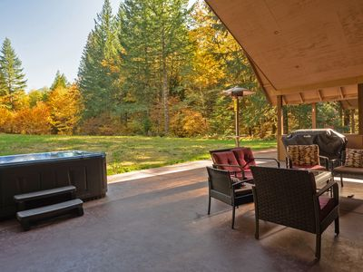 Photo for Amazing Mt Hood views, secluded cabin, woodstove, hot tub, outdoor fireplace