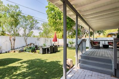 You will enjoy the large wood deck with plenty of seating for a big family