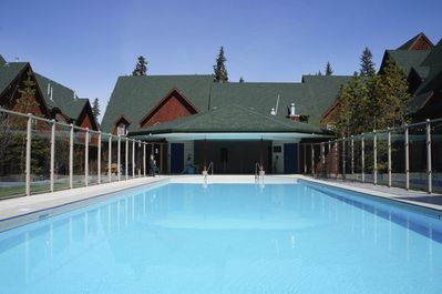 This is Canmore's biggest outdoor resort pool - open year 'round!