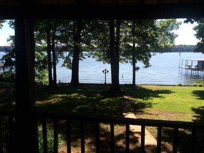 Gorgeous view of Tennessee River/Pickwick Lake from Deck.  Dock isn't a ours.
