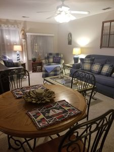 Bright & inviting living room with AWESOME views of Lake Erie & Portage River