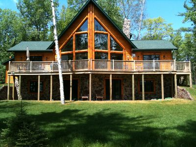 Large Log Cabin on beautiful chain of lakes in the upper Peninsula of Michigan