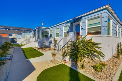 Newly manicured lawn, bright, beautiful Pacific Beach home
