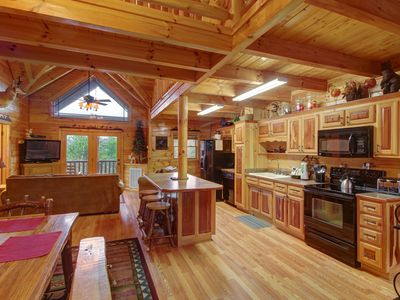 Photo for Spacious, secluded cabin w/ private hot tub & outdoor fireplace & picnic area