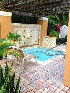 Jacuzzi steps away from condo