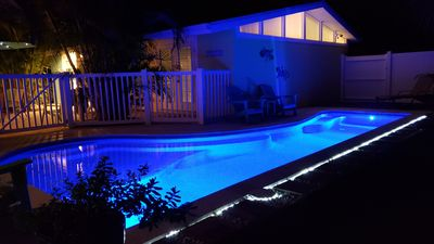 Serene night time at the pool.  Programmable LED lighting.