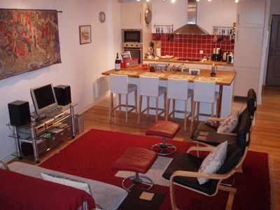 Our spacious great room with open kitchen