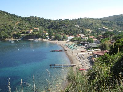 Photo for Front garden with terrace and panoramic view of Portoferraio Bay