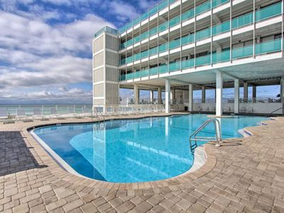 Photo for Top floor, beachfront studio w/ a shared, outdoor pool, large decks, & views!