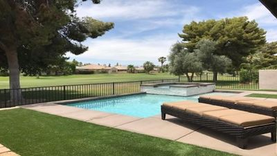 Photo for FUN&RELAXING INDIAN PALMS HOME WALK TO POLO FIELDS, PRIVATE POOL! ON GOLF COURSE