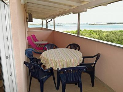 Photo for Three bedroom apartment with terrace and sea view Kraj (Pašman)