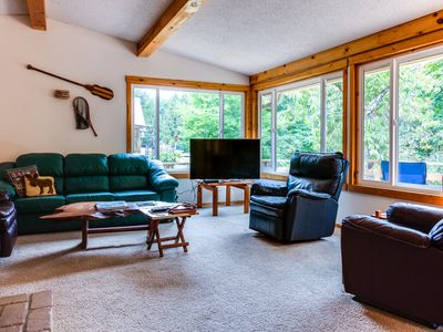 Photo for Dog-friendly rustic cabin on the McKenzie River w/large patios!