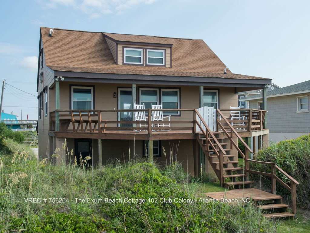 Superb Beach Front Cottage #4: The Exum Cottage - Beachfront In Atlantic Beach, NC. Back Deck. Front
