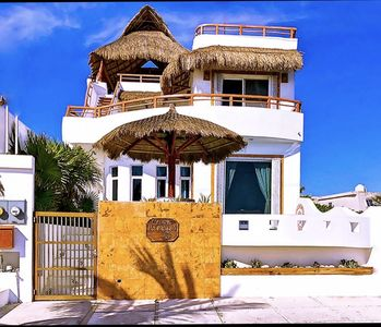 Photo for Caribbean oceanfront home, Private Pool, Rooftop lighted palapa
