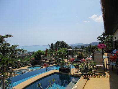 Photo for 2 bedroom apartment 80m2 sea view + pool and outdoor jacuzzi + Kitchen eq. Terrace bar