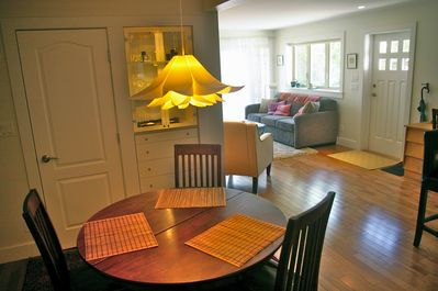 Open design dining and living room.  Sunny south facing windows.