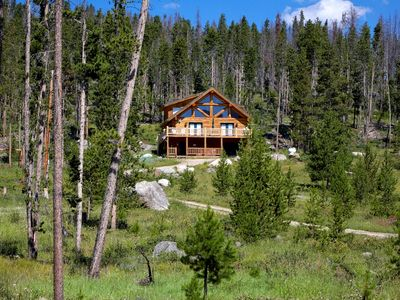 Photo for Secluded Log Cabin Lake/Mtn Views/7 acre/Hot Tub/wifi/by RMNP,game rm, sleeps 10