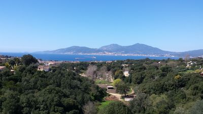 Photo for Beachfront villa with magnificent views of Ajaccio Bay and Sanguine Islands