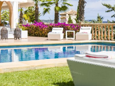 Photo for Luxury, modern 4 bed villa with sea views, large terraces, heated pool and WiFi