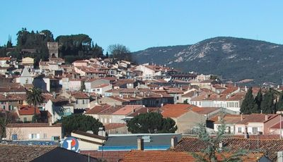 View over Cogolin and the Maures hills beyond