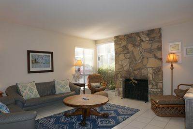 The family room is a perfect place to unwind after a long day in the sunshine, w