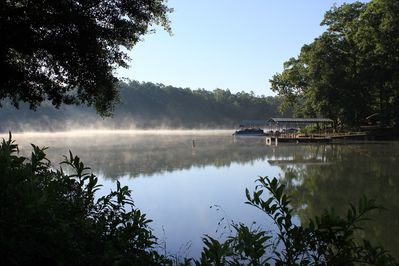 View of lake from the dock on a quiet morning.