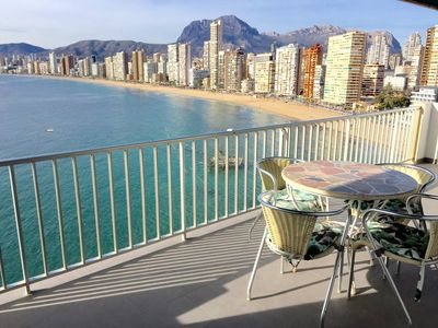 Photo for Sea front 100 sqm luxurious condo with stunning views of Benidorm