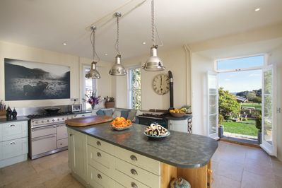 The kitchen with French doors to the garden