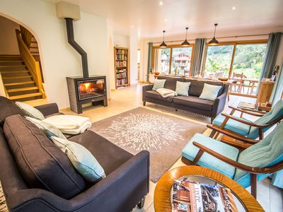 Photo for Modern design, huge rooms, sauna & hot tub, easy access to 3 local ski lifts