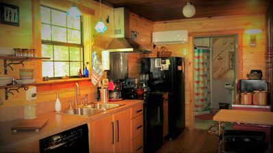 Studio kitchen is equipped with everything needed to prepare a home cooked meal.