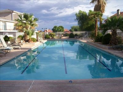 Enjoy the peace at this adult pool and hot tub area.