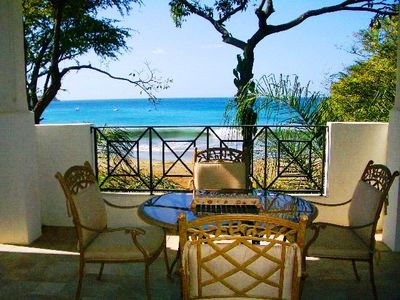 Terrace - Ocean front - This condo's terrace is located right on the beach in Playa Hermosa.
