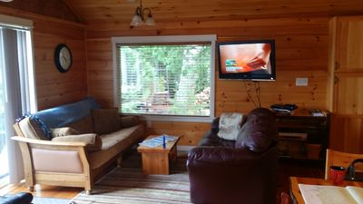 Living Room. DISH tv and comfortable funiture