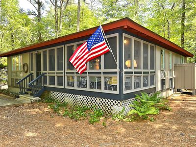 Photo for FREE DAILY ACTIVITIES!!! Pine Haven, a family home nestled in the pines of Middlesex Beach is a charming 3 bedroom, 1.5 bath post and beam construction cottage on a large wooded and shaded lot.