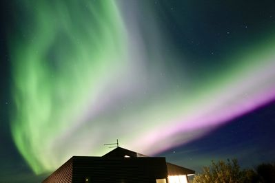 Northern Lights show on a cold winter December night. Often extremely bright.