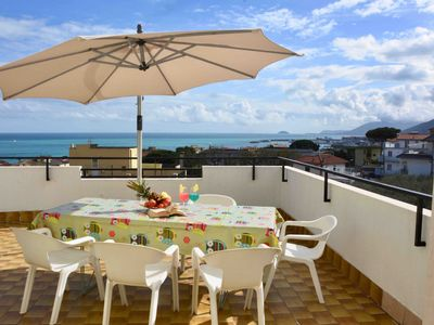 Photo for Residential flat with terrace sea view and pool