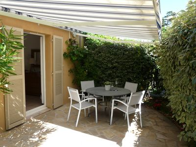Photo for Charming apt with 2 gardens in private residence with pool,very close to beach,walking distance to Saint Tropez