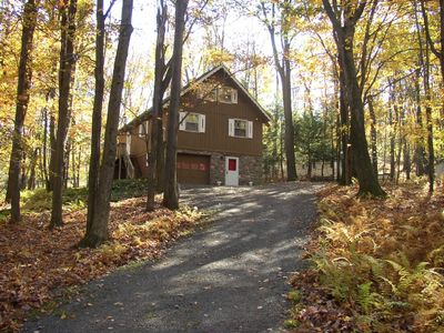 Photo for Special - Beautiful Mountain side Chalet in the Woods, 1 block from Locust Lake