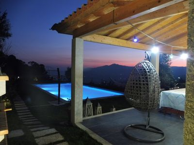 View over the mountains at night