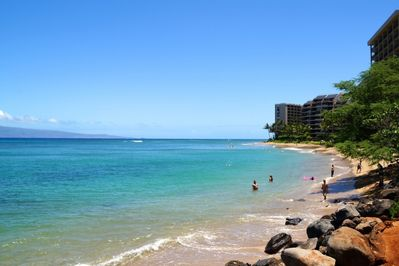 'S' turns beach is directly across the street from the Kahana Villa complex.