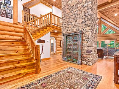 Photo for Stunning Mountain Lodge, 4 BDRM, 3 Bath/2 Half, Long Range View, Gas Fire Pit