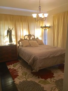 Romance. Silk curtains and finest antiques. Bedroom one opens into living room.