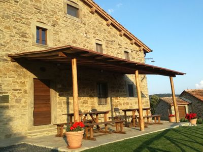 Photo for Beautiful accommodation in elegant farmhouse with pool and breathtaking views
