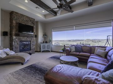 Beautiful view out  large picture window in family room.